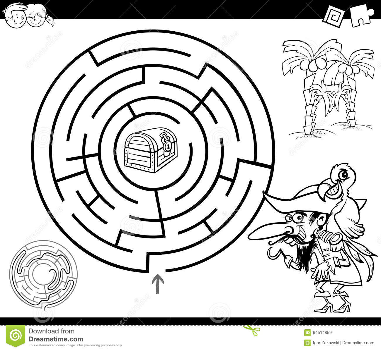 maze with pirate coloring page stock vector image 94514859