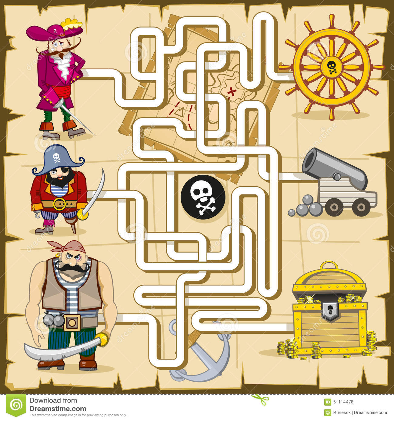 maze with pirates vector game for kids stock vector image 61114478
