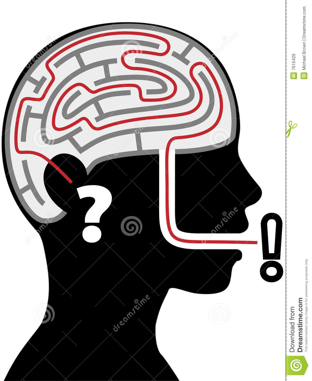 Maze puzzle silhouette person head question answer