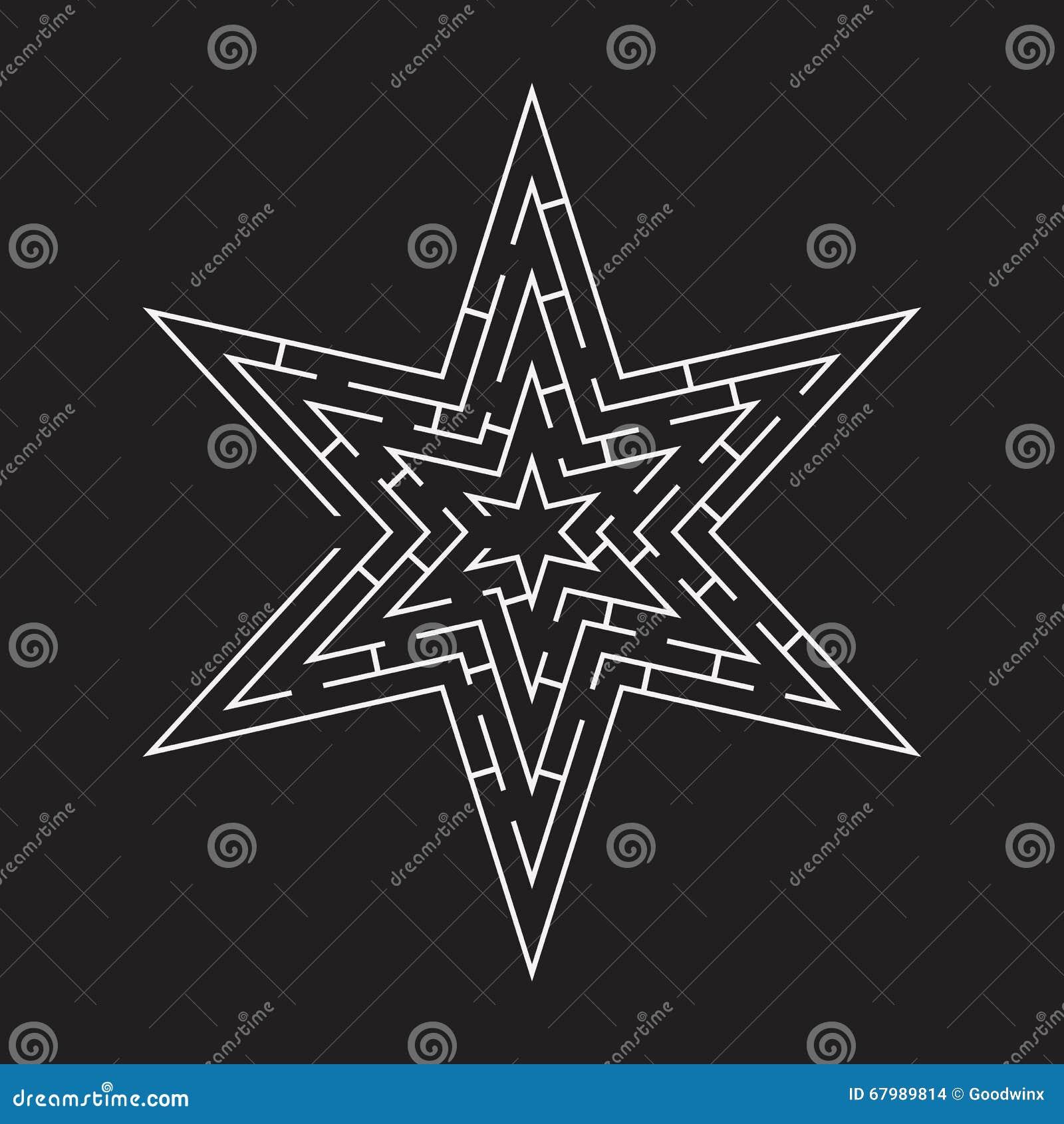 Maze Puzzle A Star Shape Black Stock Vector - Illustration ...