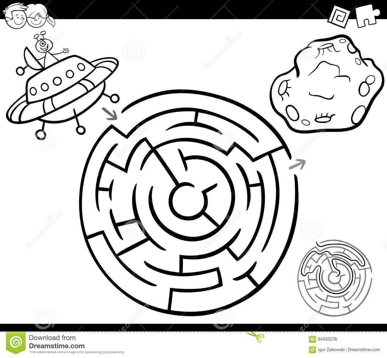 Maze With Ufo Coloring Page Stock Vector - Illustration of labyrinth ...