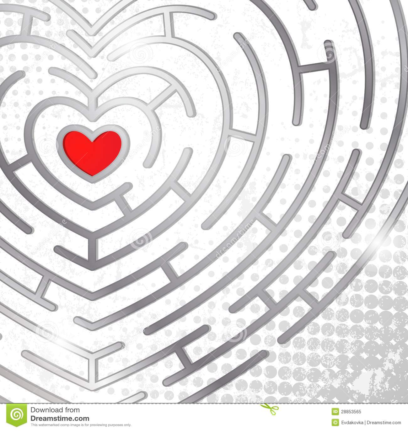 Maze Whits Heart Royalty Free Stock Photo - Image: 28853565