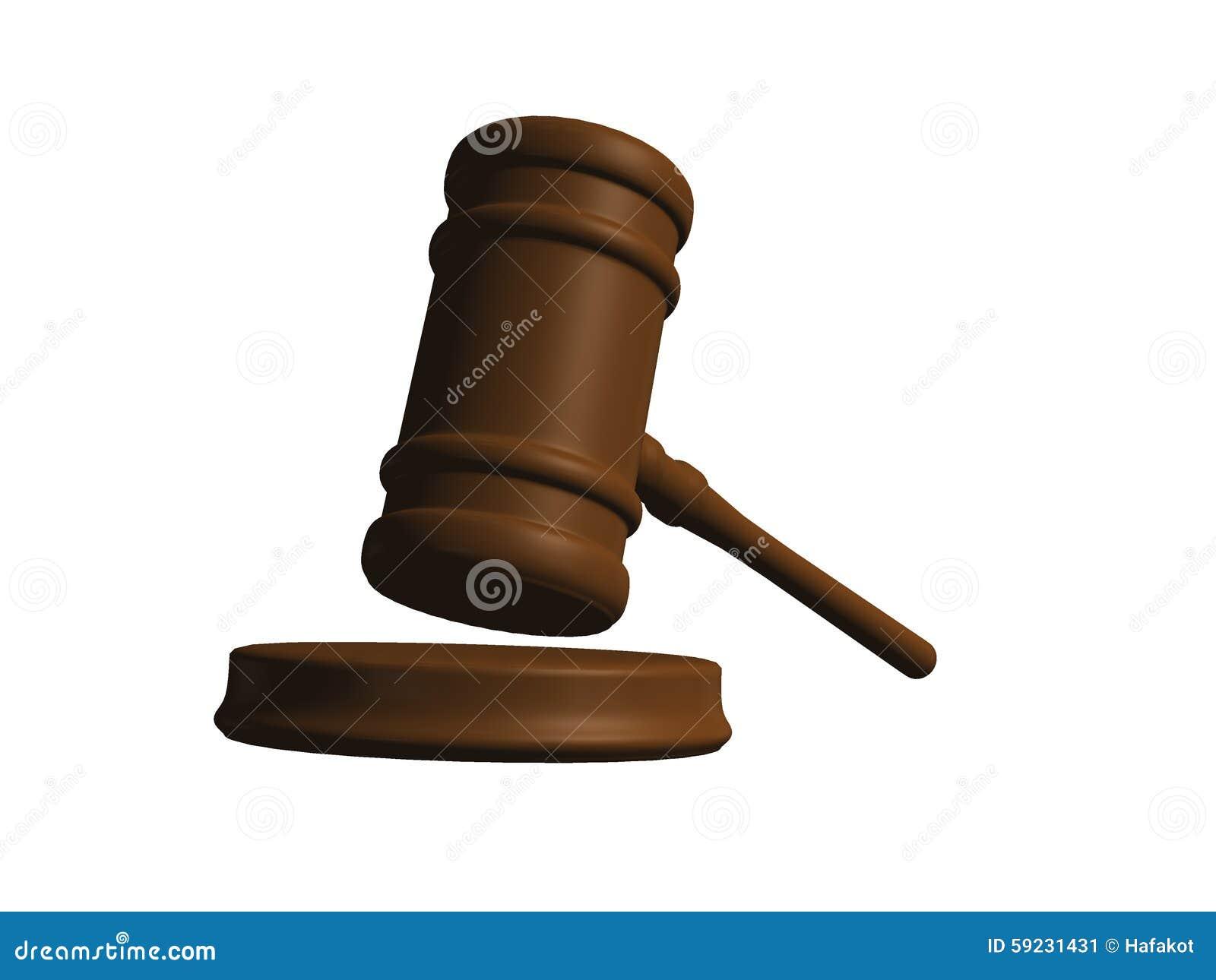 Mazo del juez aislado en blanco