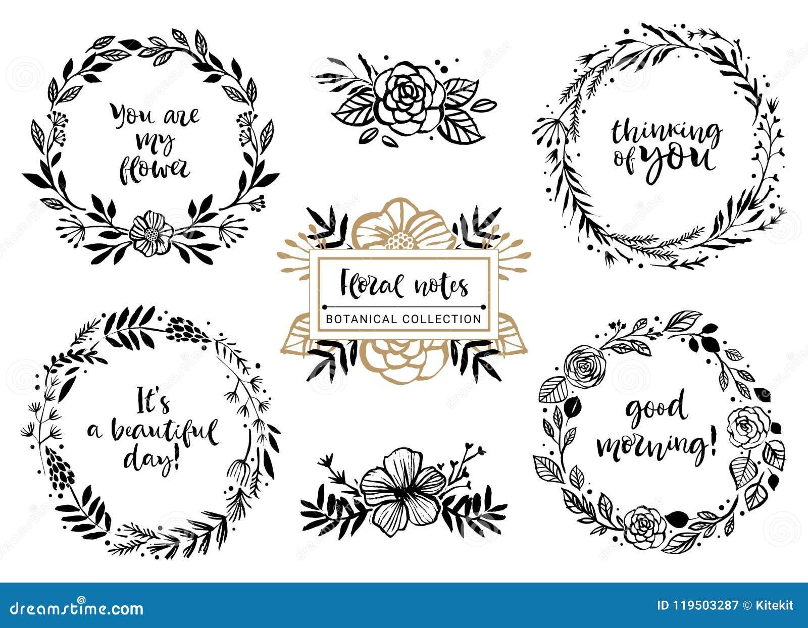 Mazzi del fiore, corone con le citazioni ispiratrici Botan floreale
