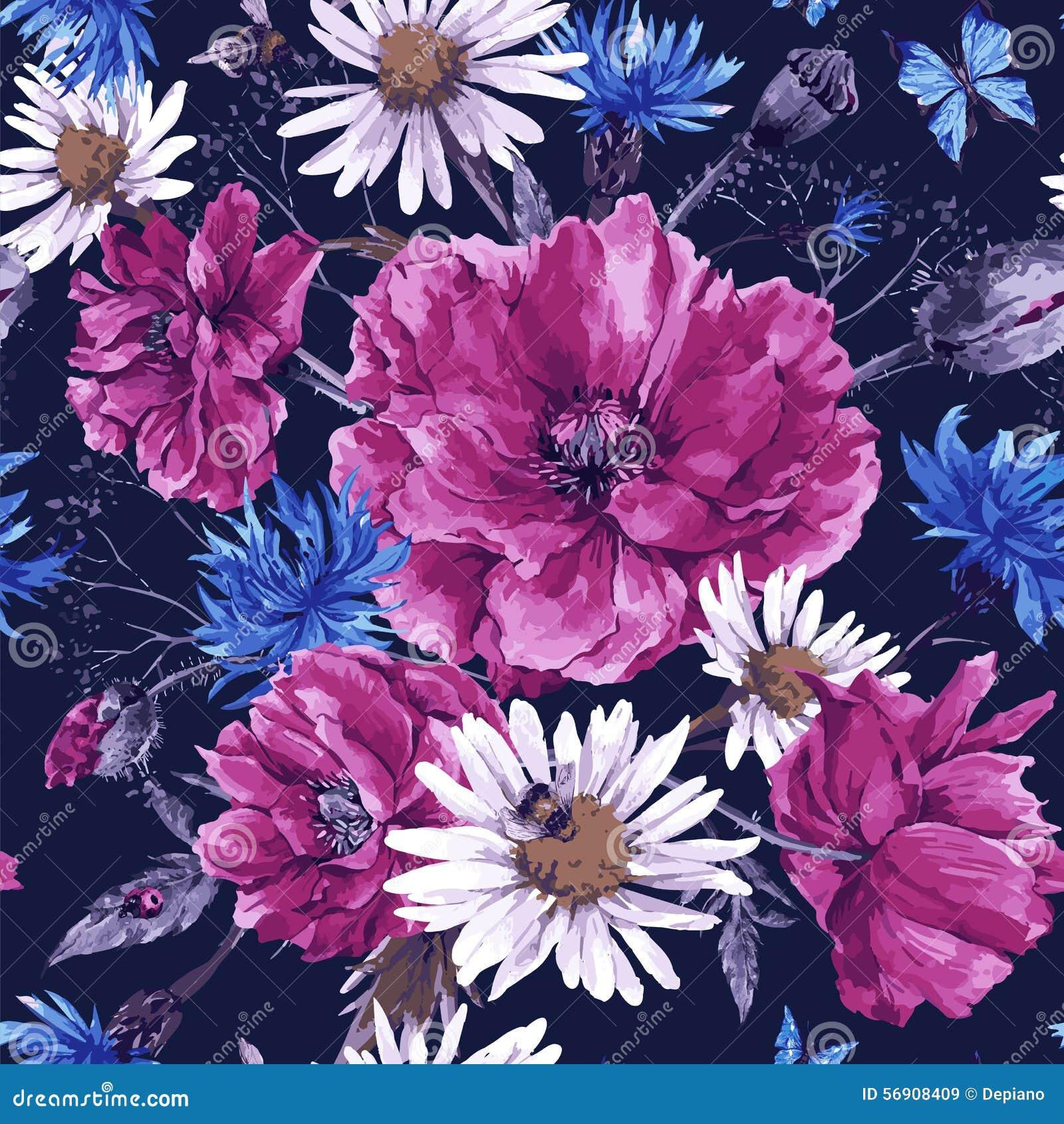 Mazzo d annata dell acquerello dei wildflowers, misero