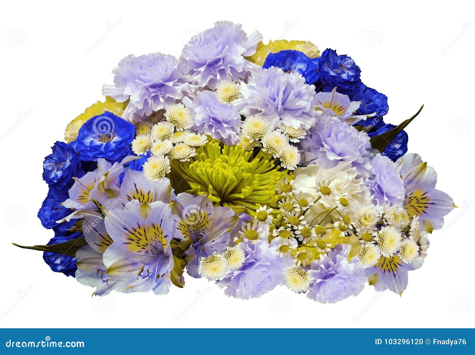 Fiori Bianchi Ombra.Mazzo Dei Fiori Bianchi Blu Viola Giallo Su Un Fondo Bianco