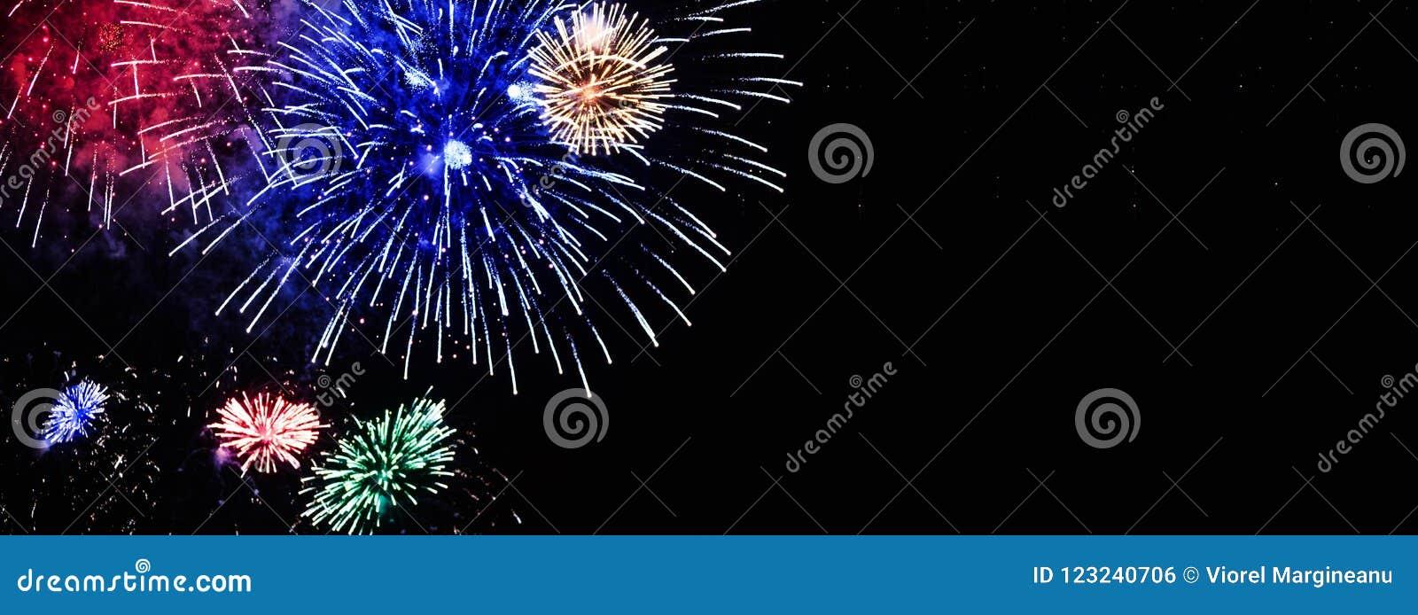 Mazzo dei fiori variopinti dei fuochi d artificio visualizzati sul cielo notturno