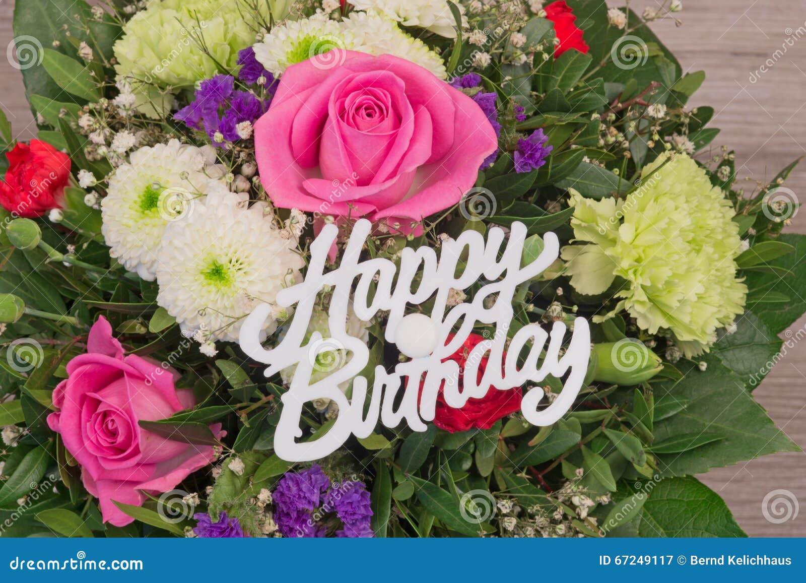 Fabuleux Mazzo Del Fiore Con Il Buon Compleanno Del Testo Immagine Stock  VH62