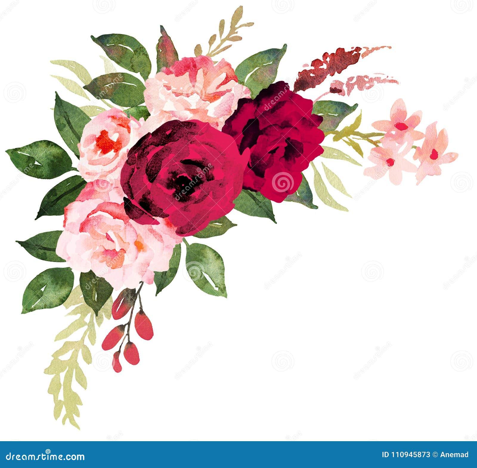 Mazzo del fiore con le rose rosse e rosa Acquerello dipinto a mano