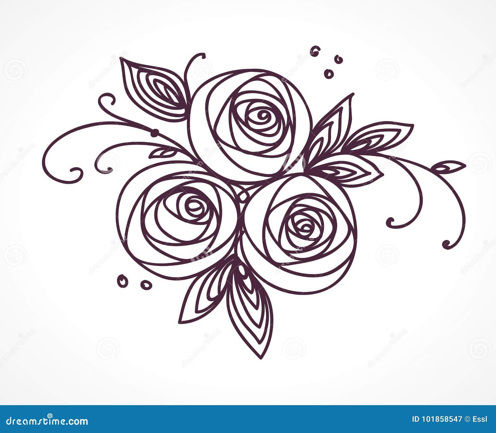 Mazzo Del Fiore Disegno Stilizzato Della Mano Delle Rose