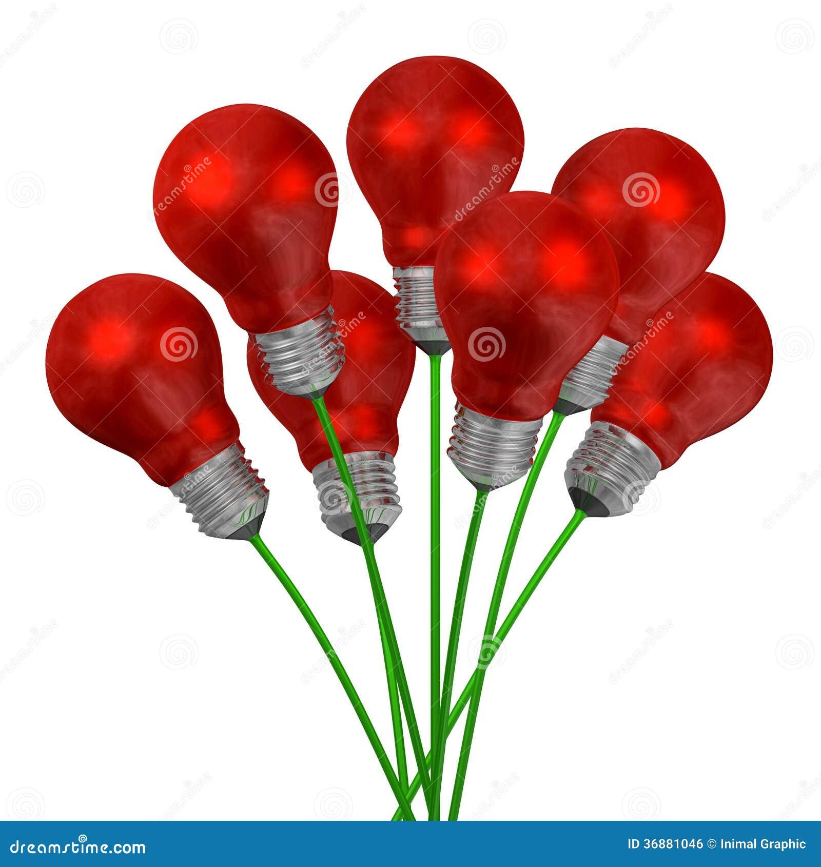 Download Mazzo Delle Lampadine Della Luce Rossa Sui Cavi Verdi Illustrazione di Stock - Illustrazione di concetto, digitale: 36881046
