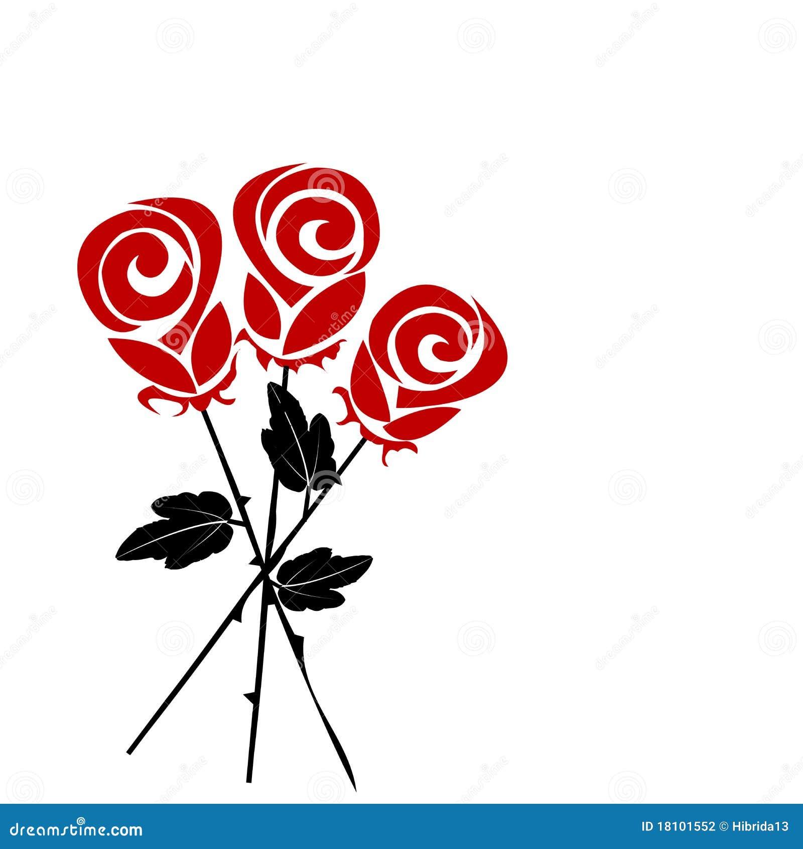 Mazzo Delle Rose Stilizzate Fotografia Stock Immagine