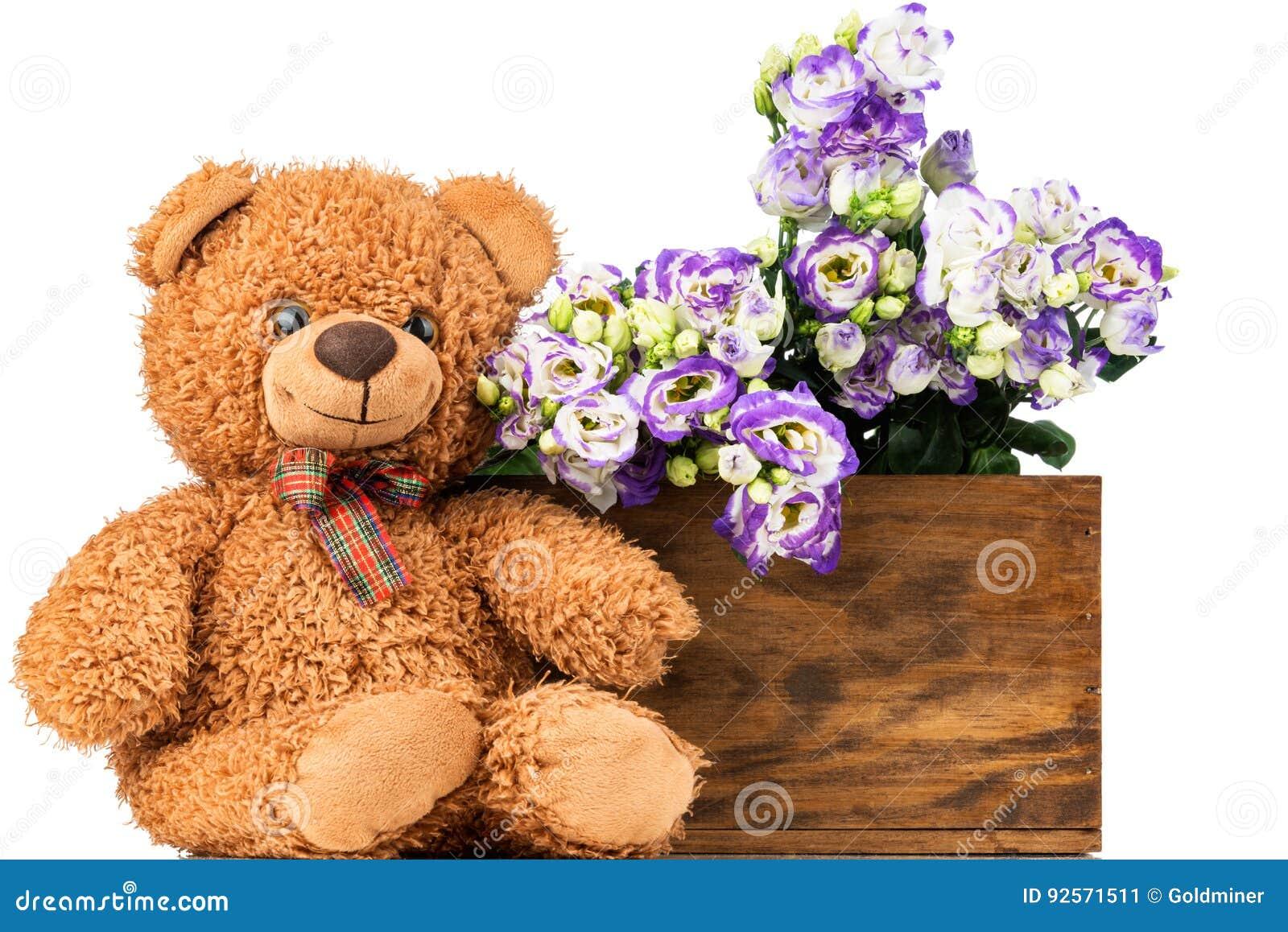 Mazzo di fiori di eustoma e di orsacchiotto