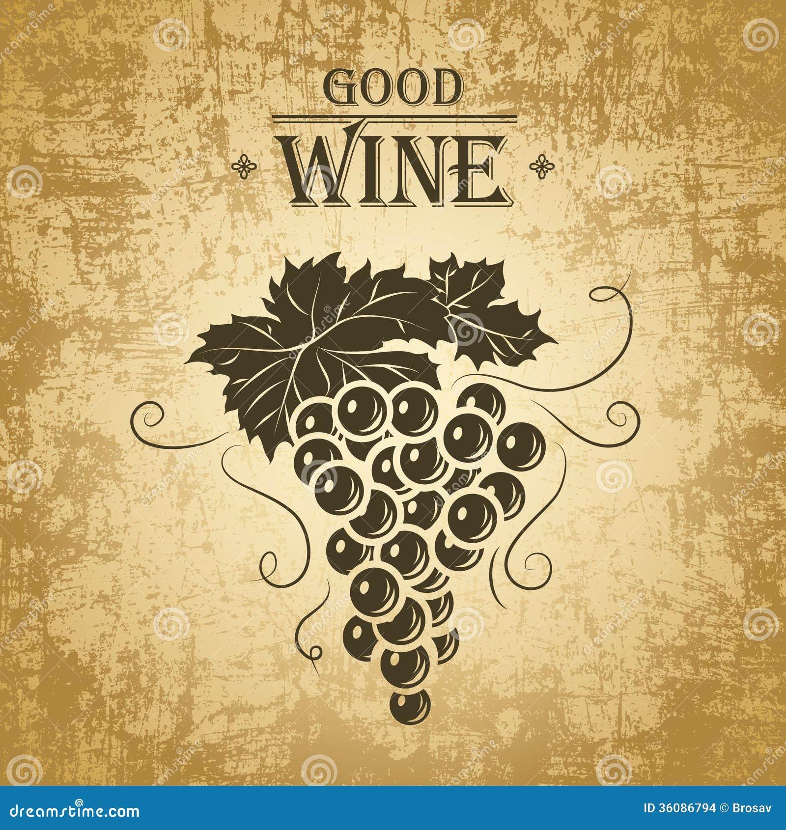 spesso Mazzo Di Uva Per Le Etichette Di Vino Illustrazione Vettoriale  CT45