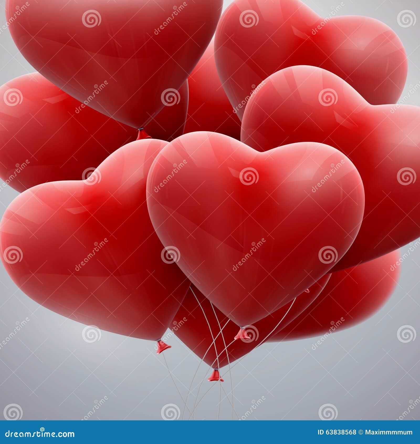 Mazzo di volo di cuori del pallone illustrazione di stock for Immagini di cuori rossi