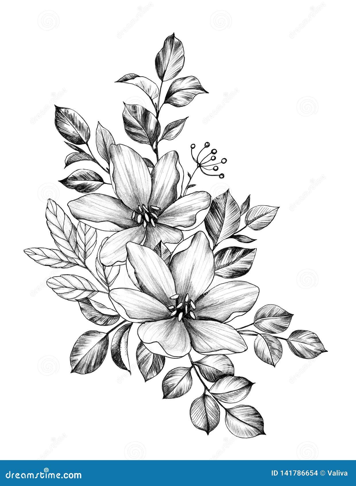 Mazzo disegnato a mano con due fiori e foglie