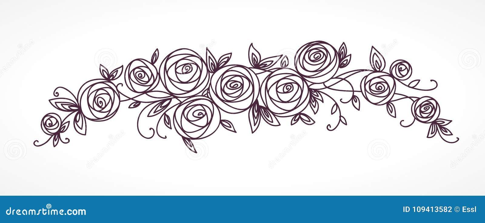 Mazzo Di Fiori Stilizzato.Mazzo Rosa Stilizzato Dei Fiori Ramo Dei Fiori E Delle Foglie Che