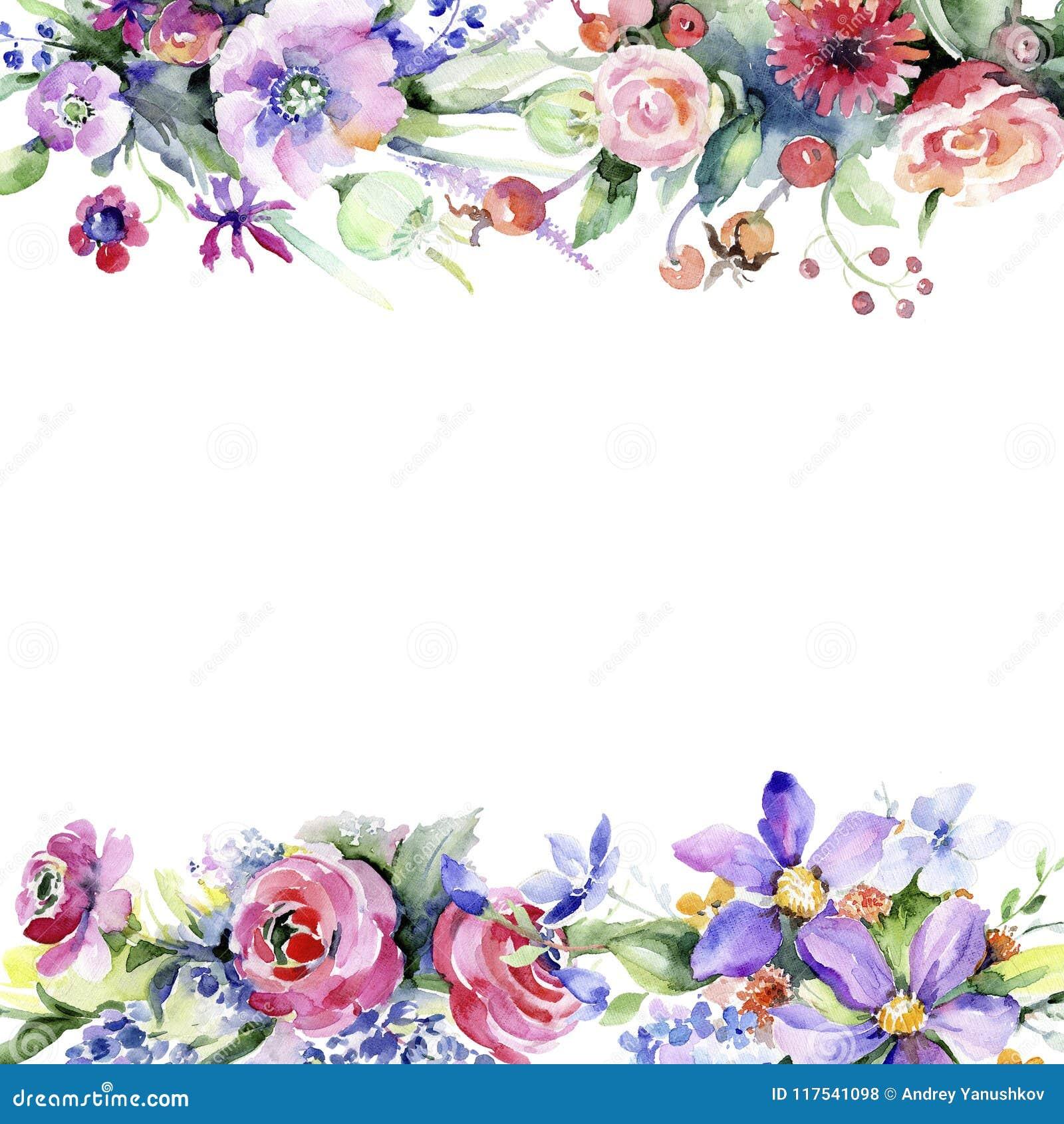 Mazzo variopinto Fiore botanico floreale Quadrato dell ornamento del confine della pagina