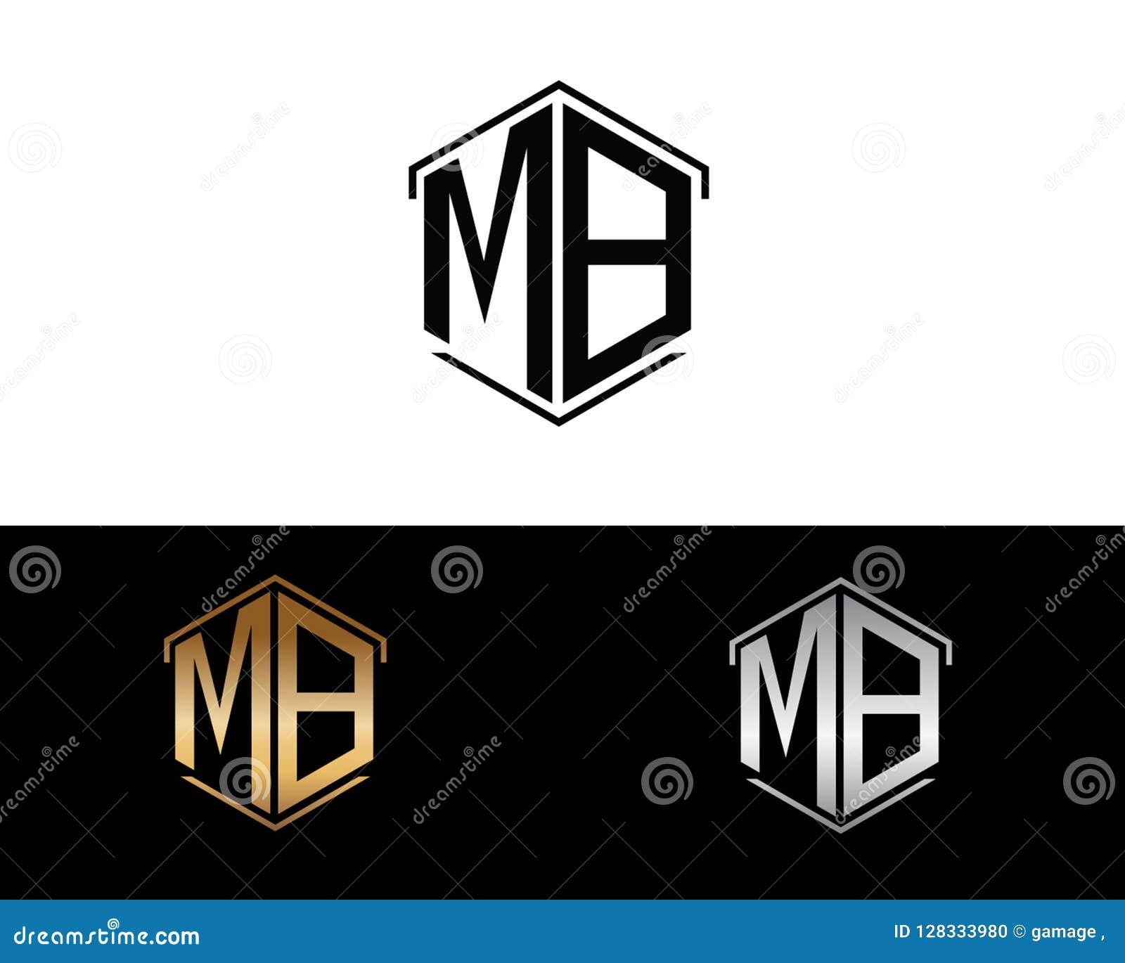 Mb-Hexagonformbuchstabe-Vektordesign