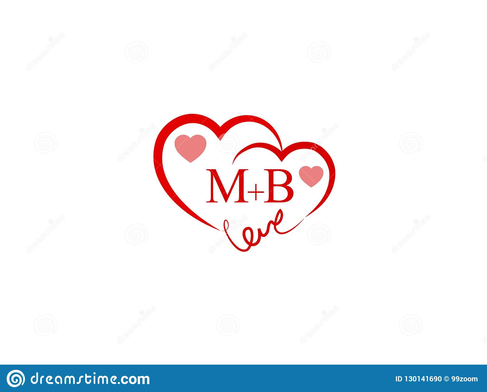Mb Initial Heart Shape Red Colored Love Logo Stock Vector
