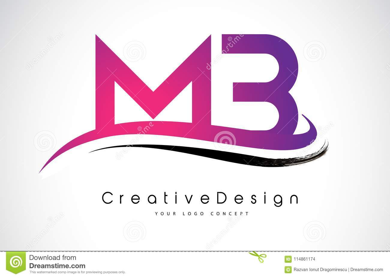 Download MB M B Letter Logo Design Creative Icon Modern Letters Vector L Stock