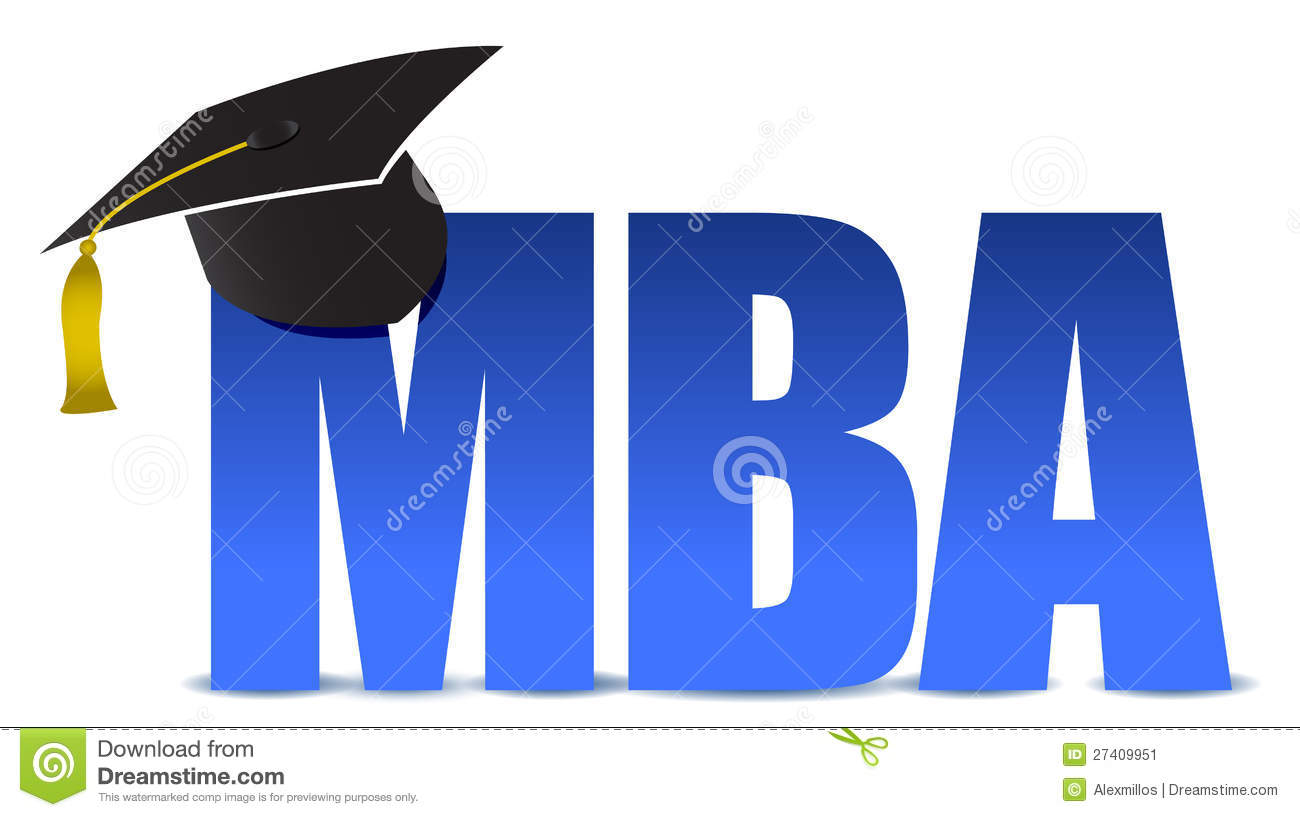 MBA graduation tassel hat over white background illustration.