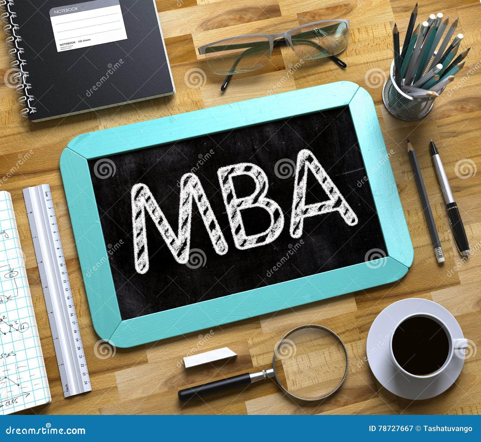 MBA som är handskriven på den lilla svart tavlan 3d