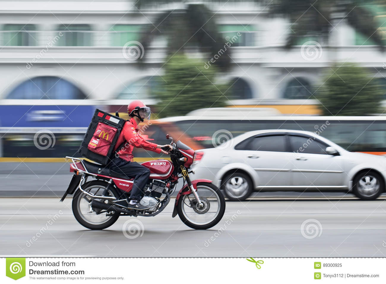 McDonald delivery on a motorcycle, Guangzhou, China