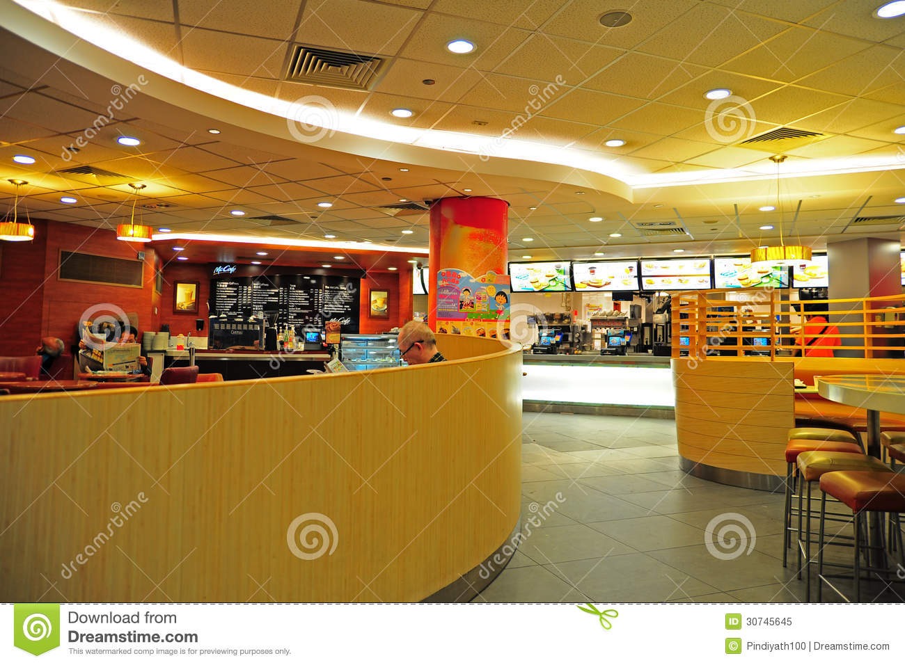 Mcdonald s restaurant interior editorial image
