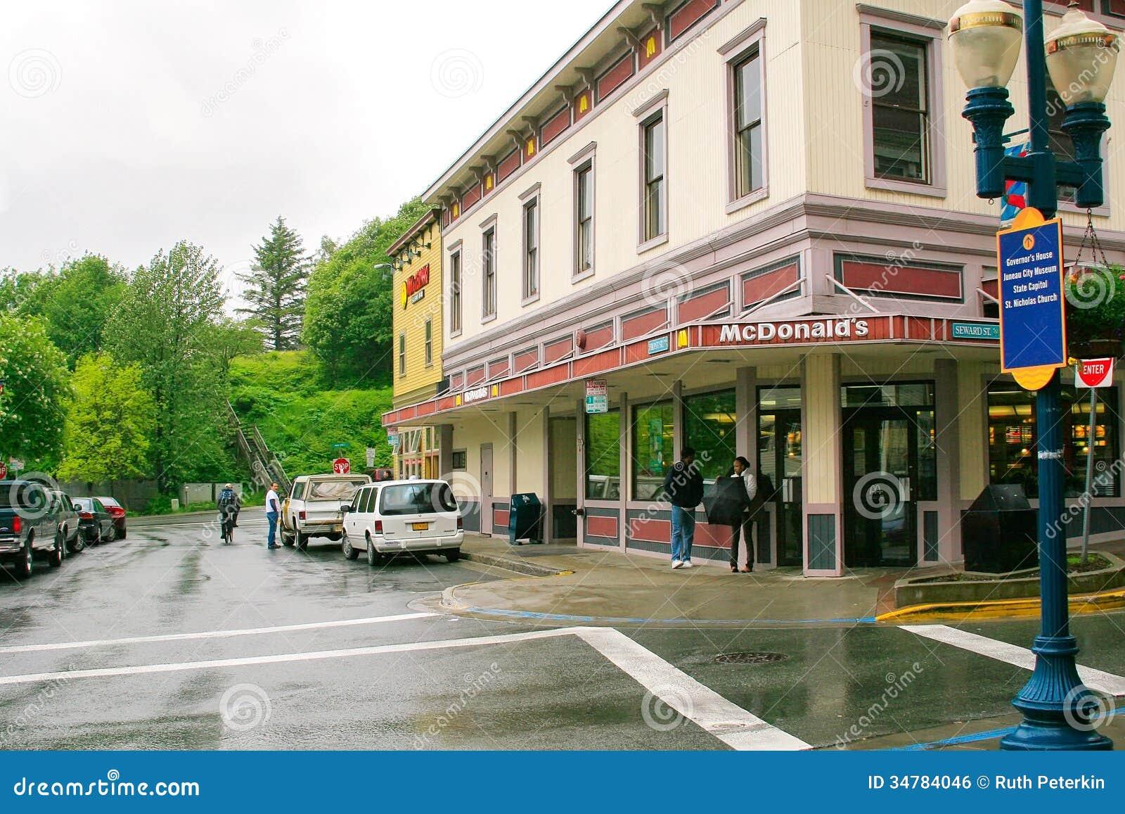 Fast Food Restaurant Corner Of Street