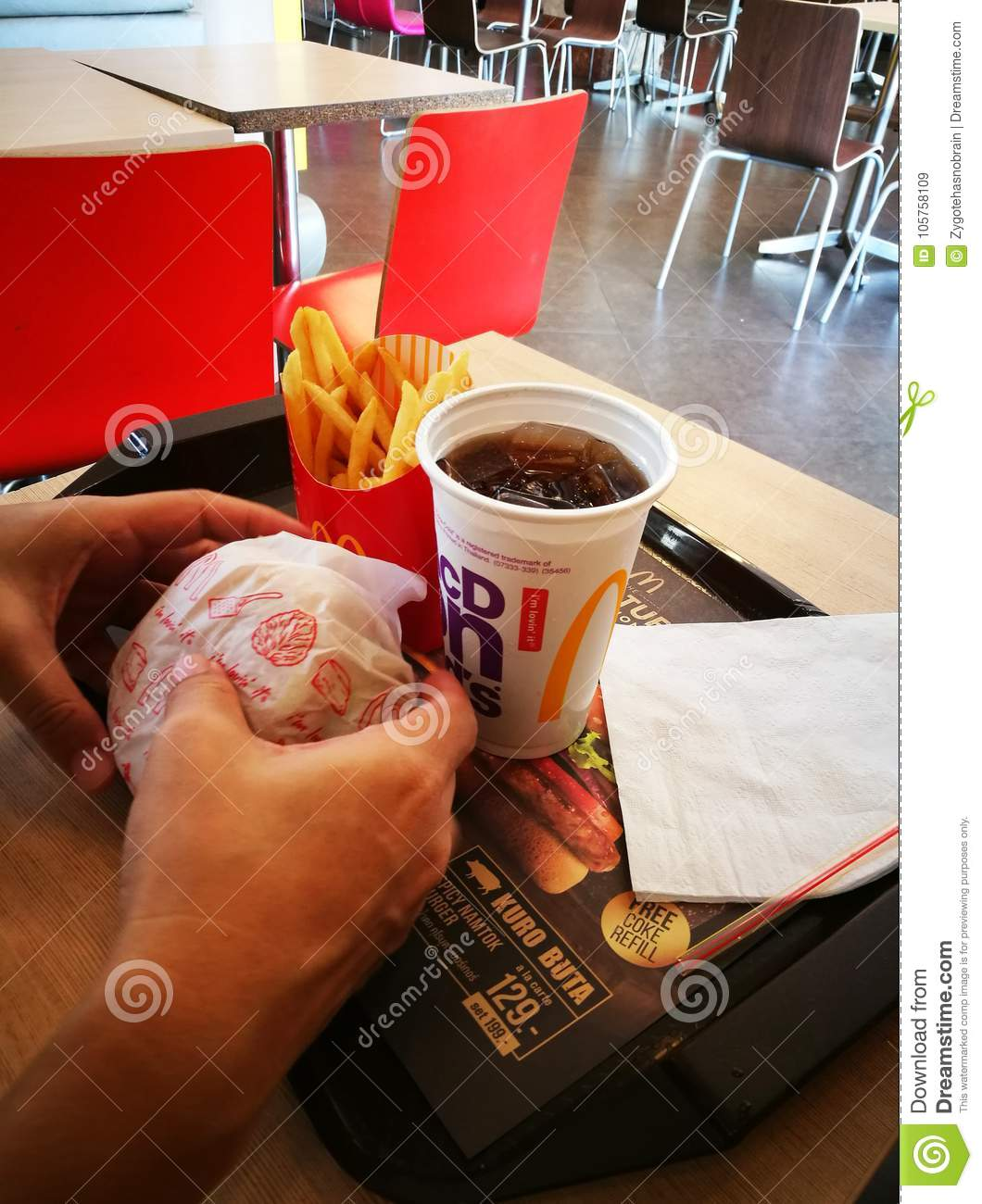 McDonald`s snack set editorial stock image  Image of burger - 105758109