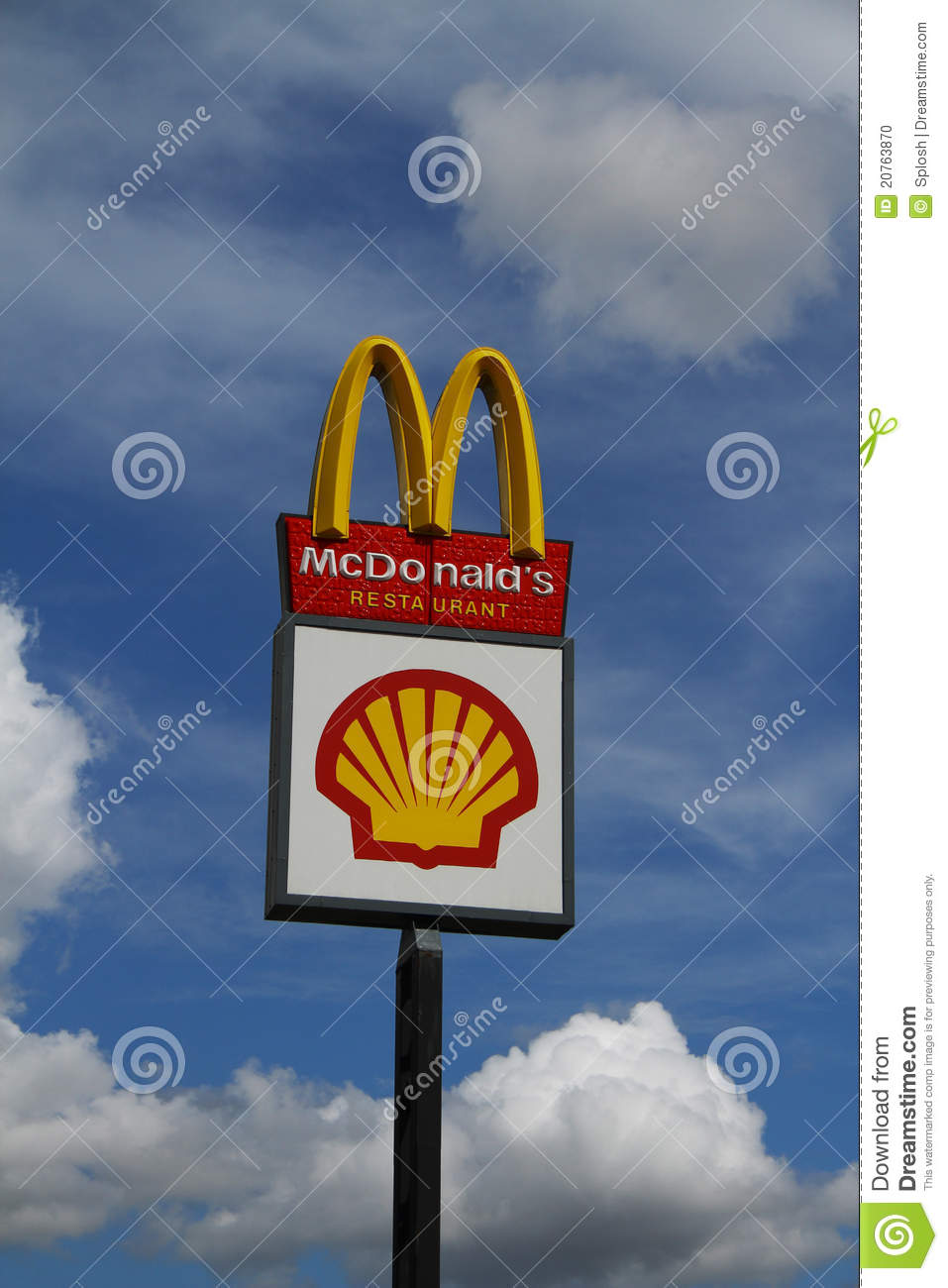 Shell Gas Prices >> McDonalds and Shell sign editorial image. Image of mcdonalds - 20763870