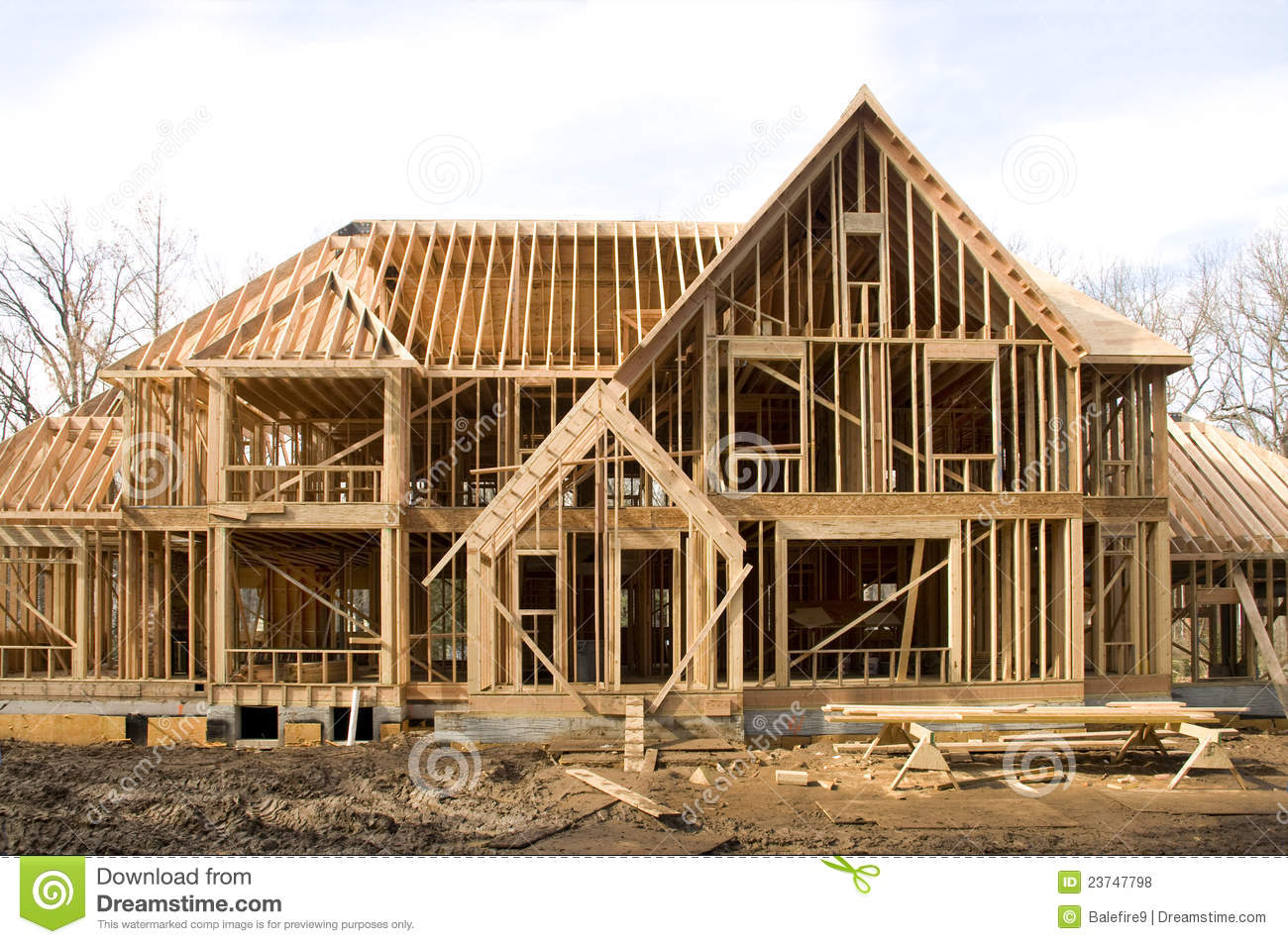 Mcmansion house in framing phase stock photo image of for What is a frame home