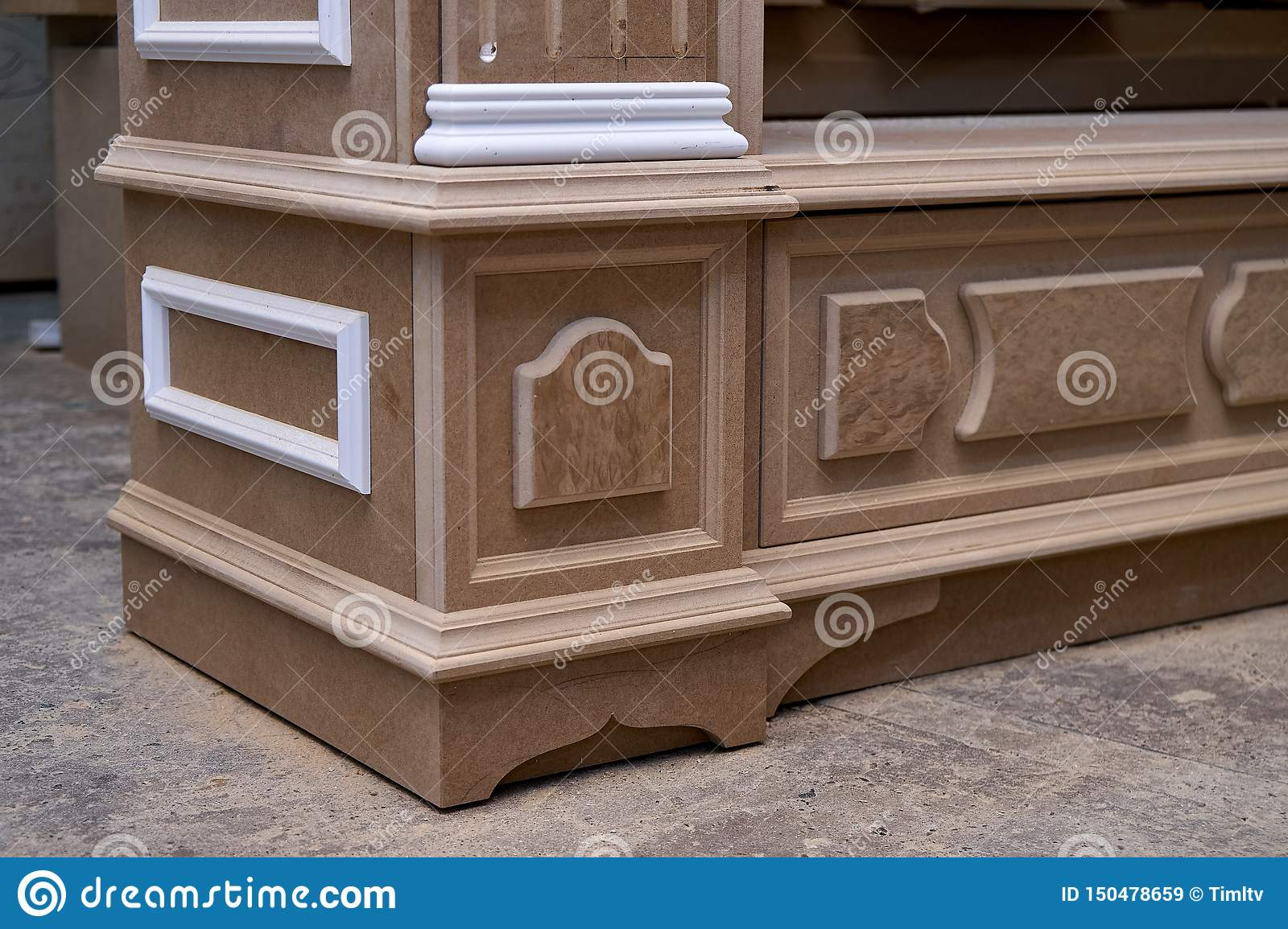 Mdf Cabinet Carcass With Moldings And Wooden Carved Capital  Wooden