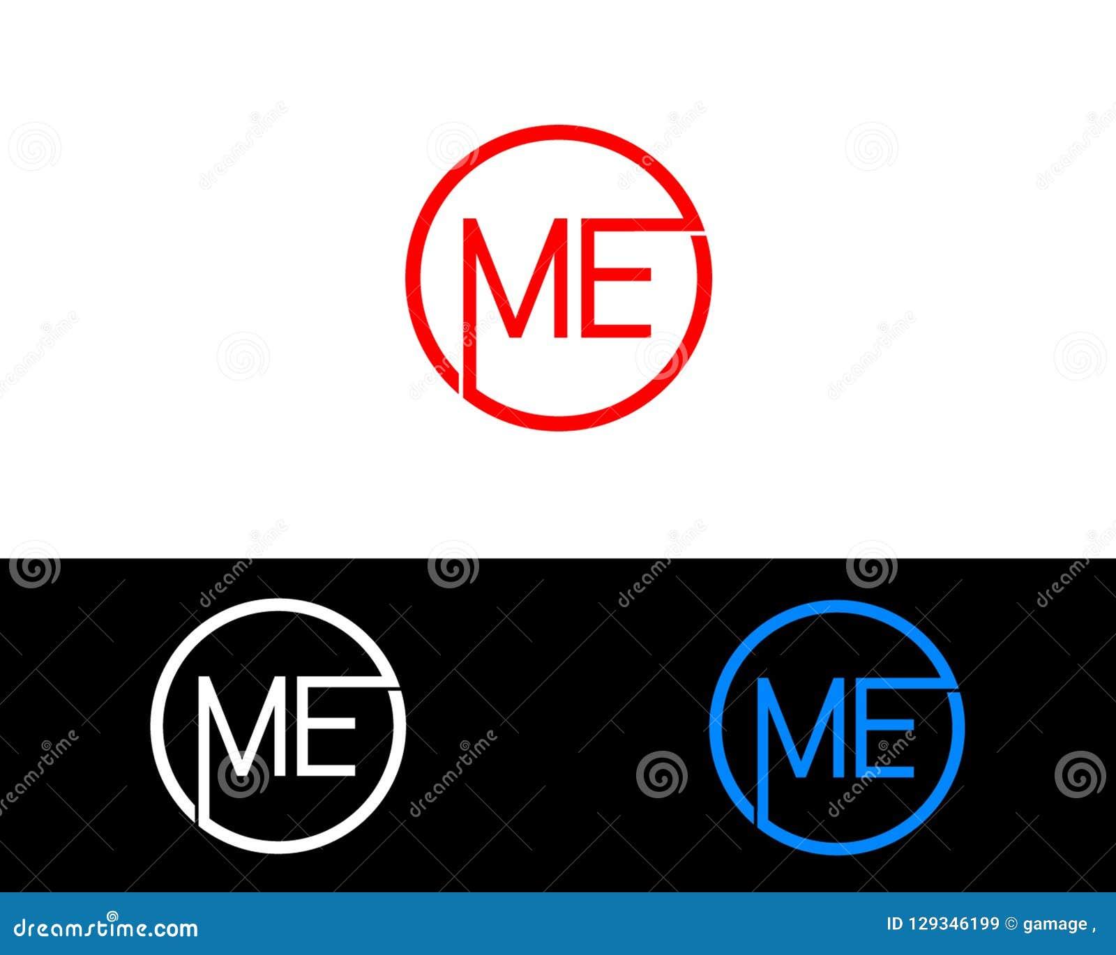 me circle shape letter logo design stock vector illustration of