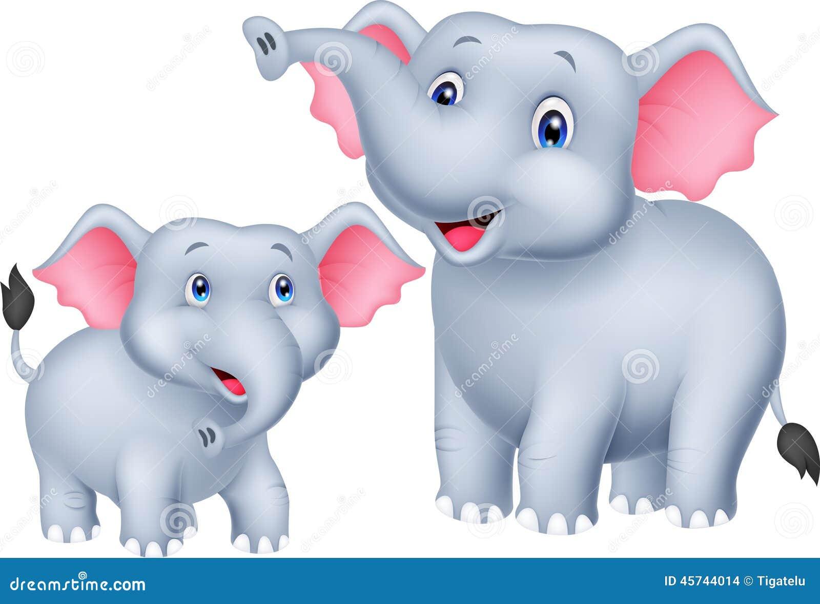 Zoológico De Animais Bebê Dos Desenhos Animados Vetor: Mãe Dos Desenhos Animados E Elefante Do Bebê Ilustração Do