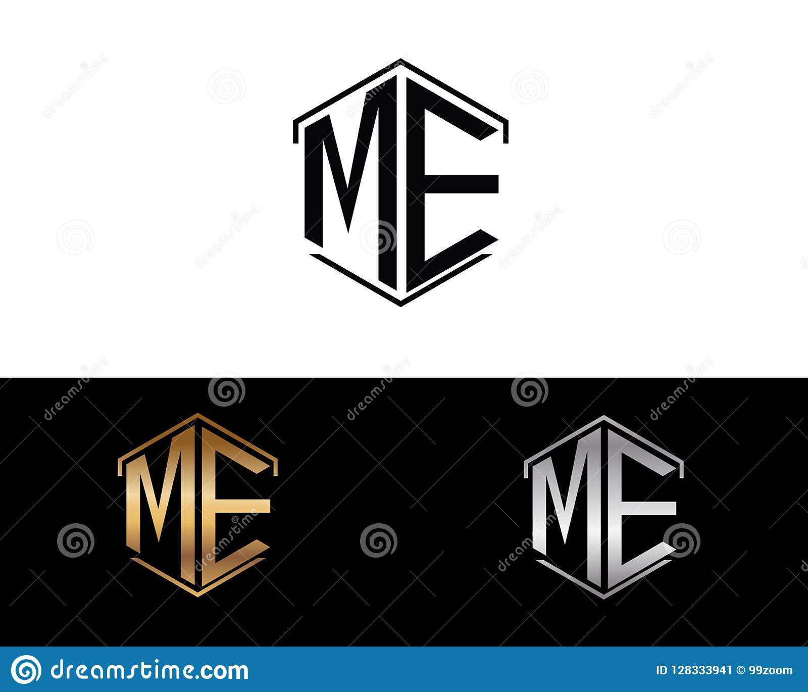 ME letters linked with hexagon shape logo