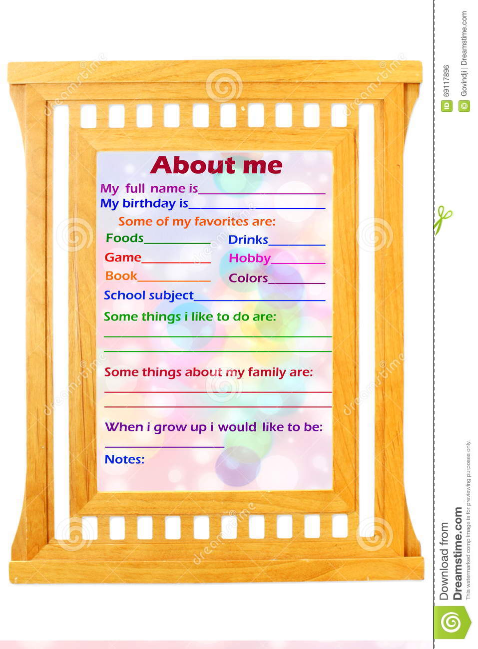 About Me Myself Phrase Concept Text In Wooden Frame Stock Photo ...