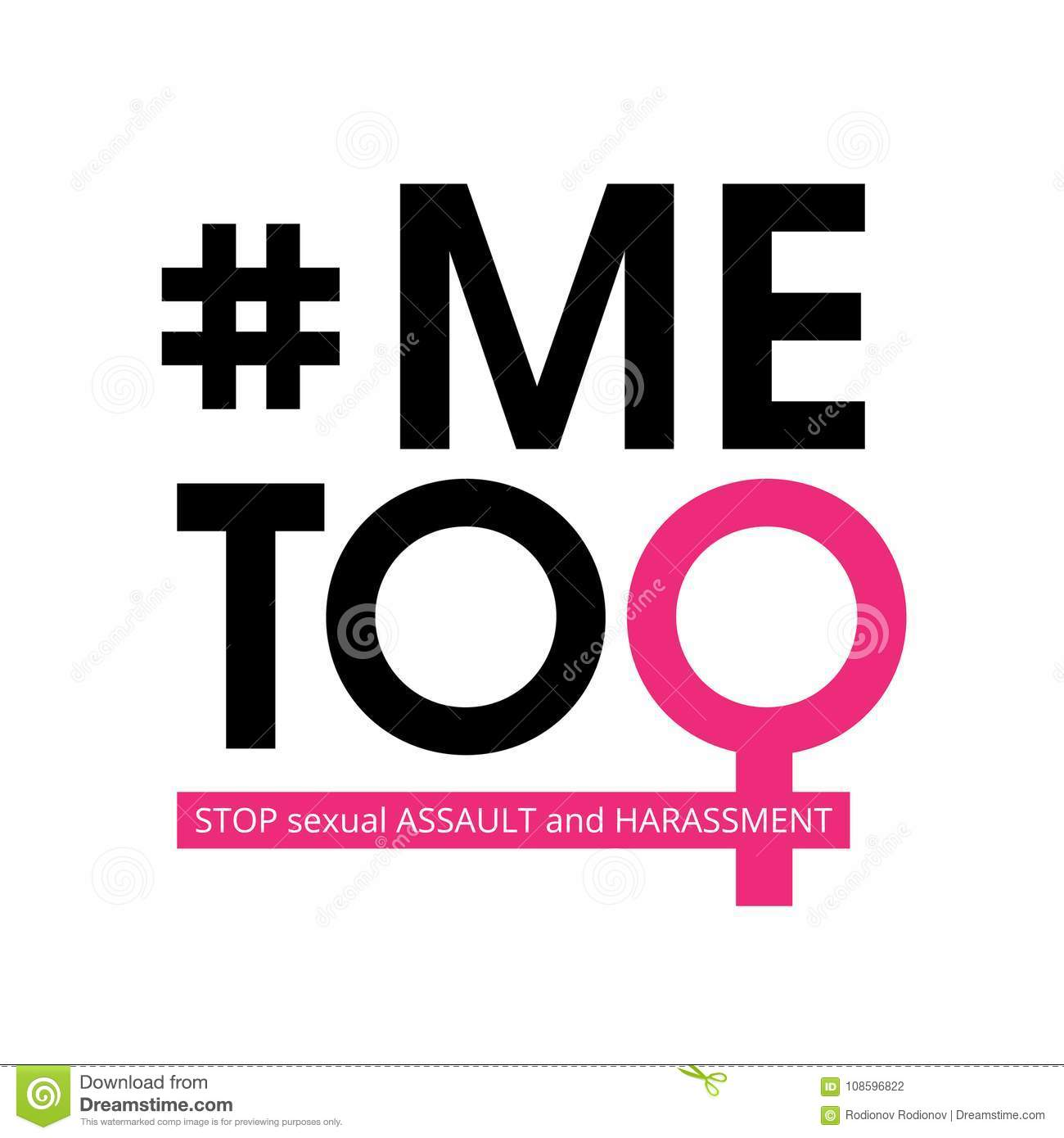 Me Too social movement hashtag against sexual assault and harassment. Vector illustration isolated on white background