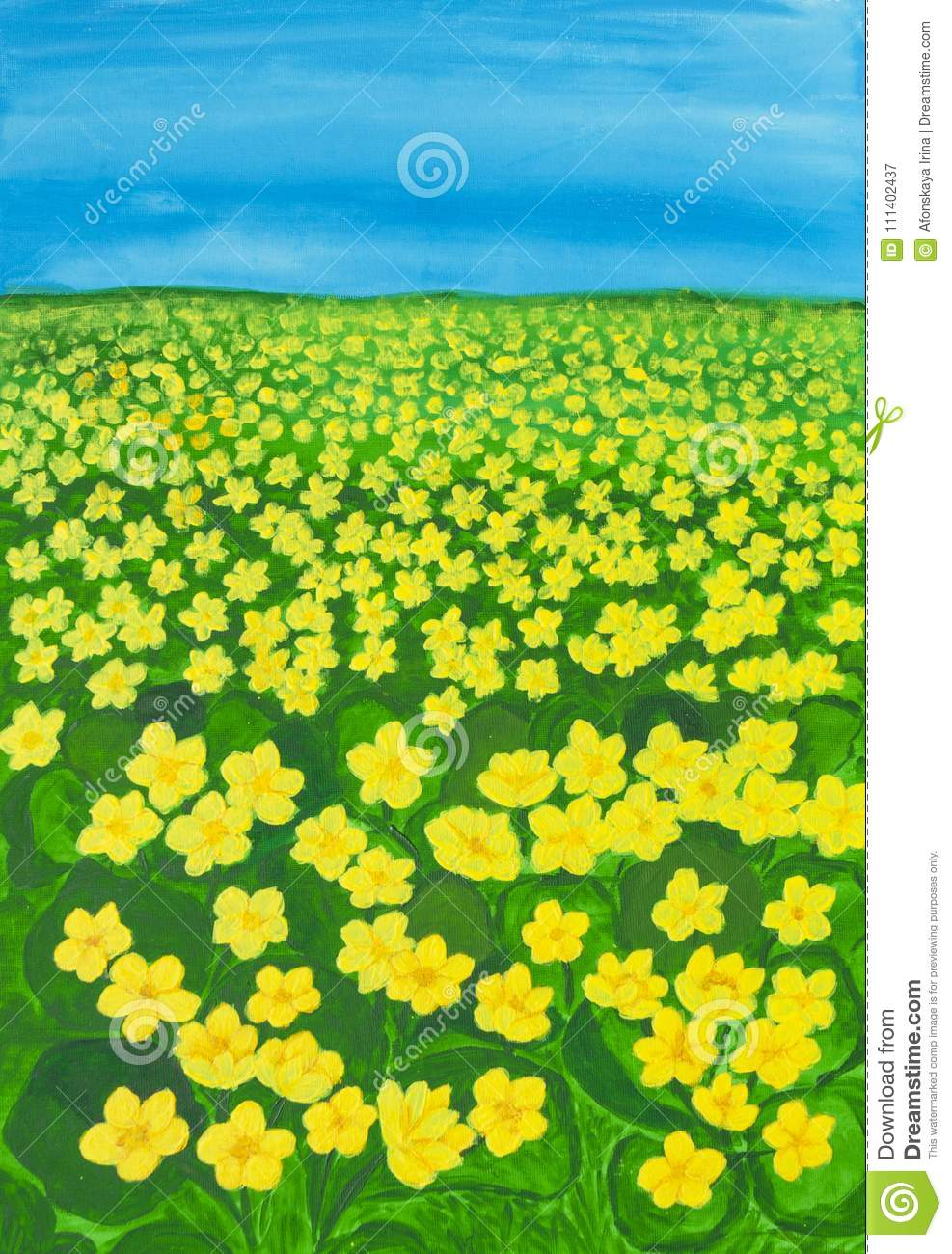 Meadow with buttercups stock illustration illustration of spring meadow with many first spring flowers yellow buttercupslatin name ranunculus illustration painting acrylic on canvas mightylinksfo