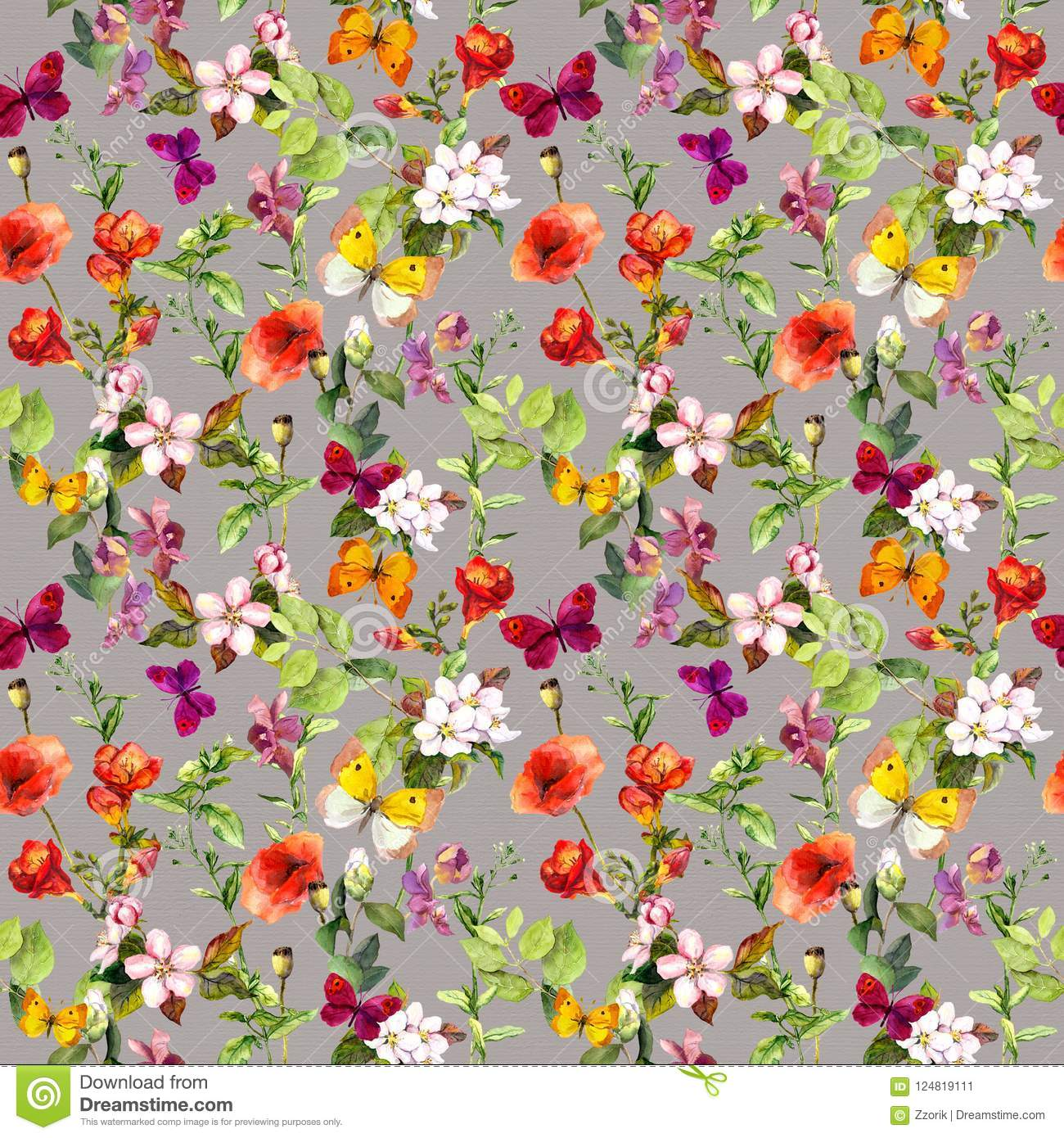 2015 Ditsy Floral Design: Meadow Flowers And Butterflies Repeating Pattern