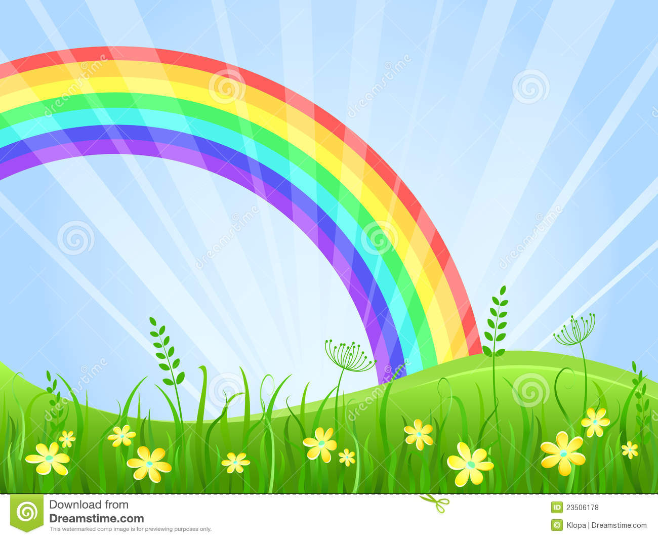 ... With Flowers And Rainbow Royalty Free Stock Photos - Image: 23506178