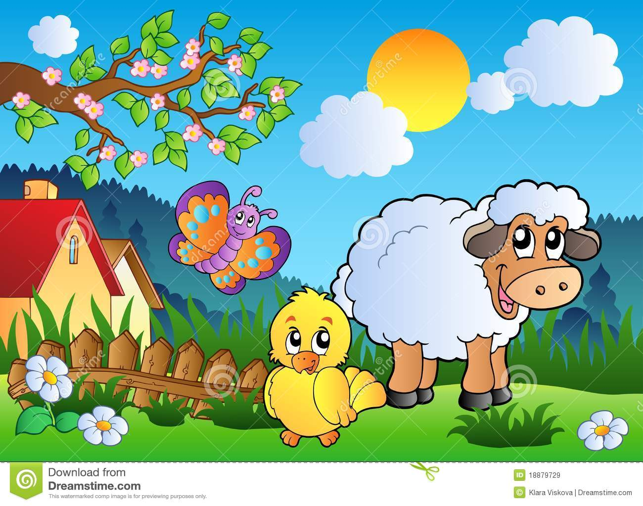 meadow with happy spring animals royalty free stock images image