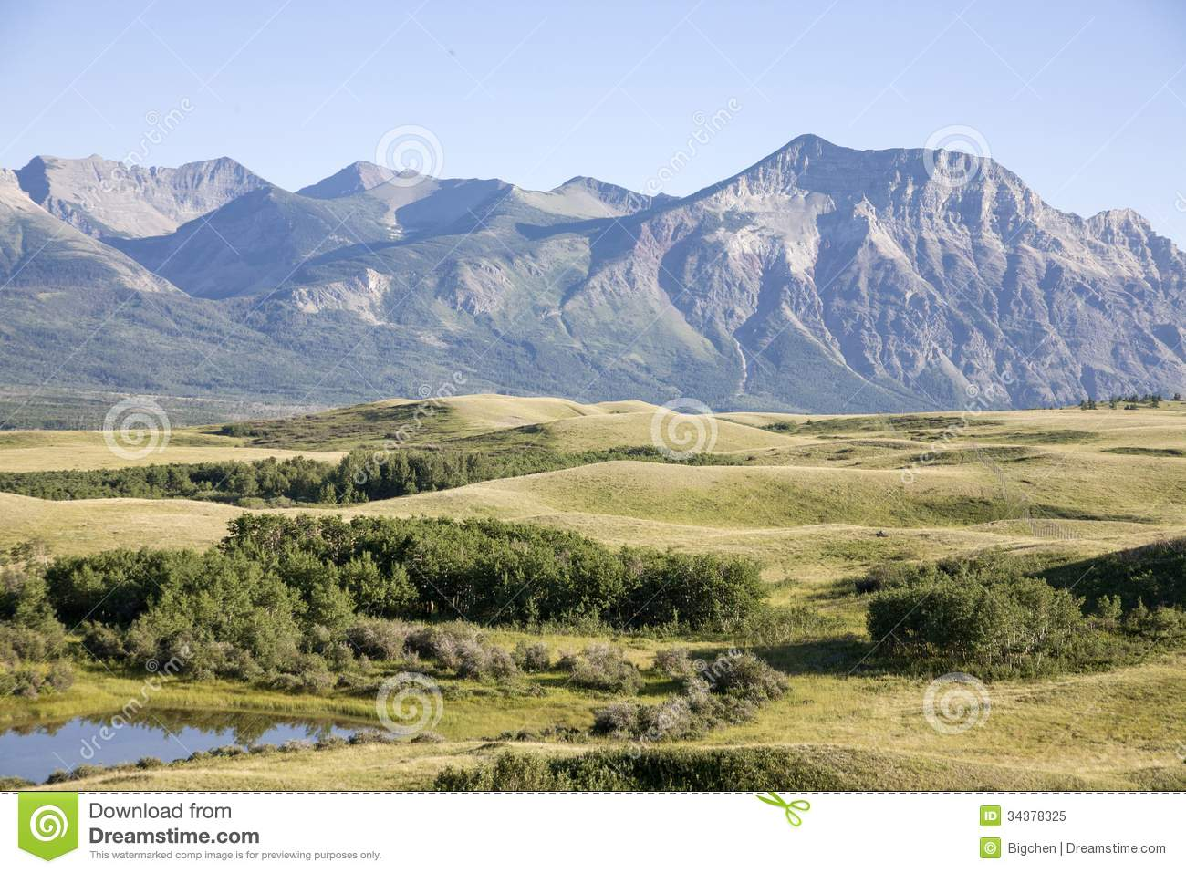 Meadow And Mountain View Royalty Free Stock Photo
