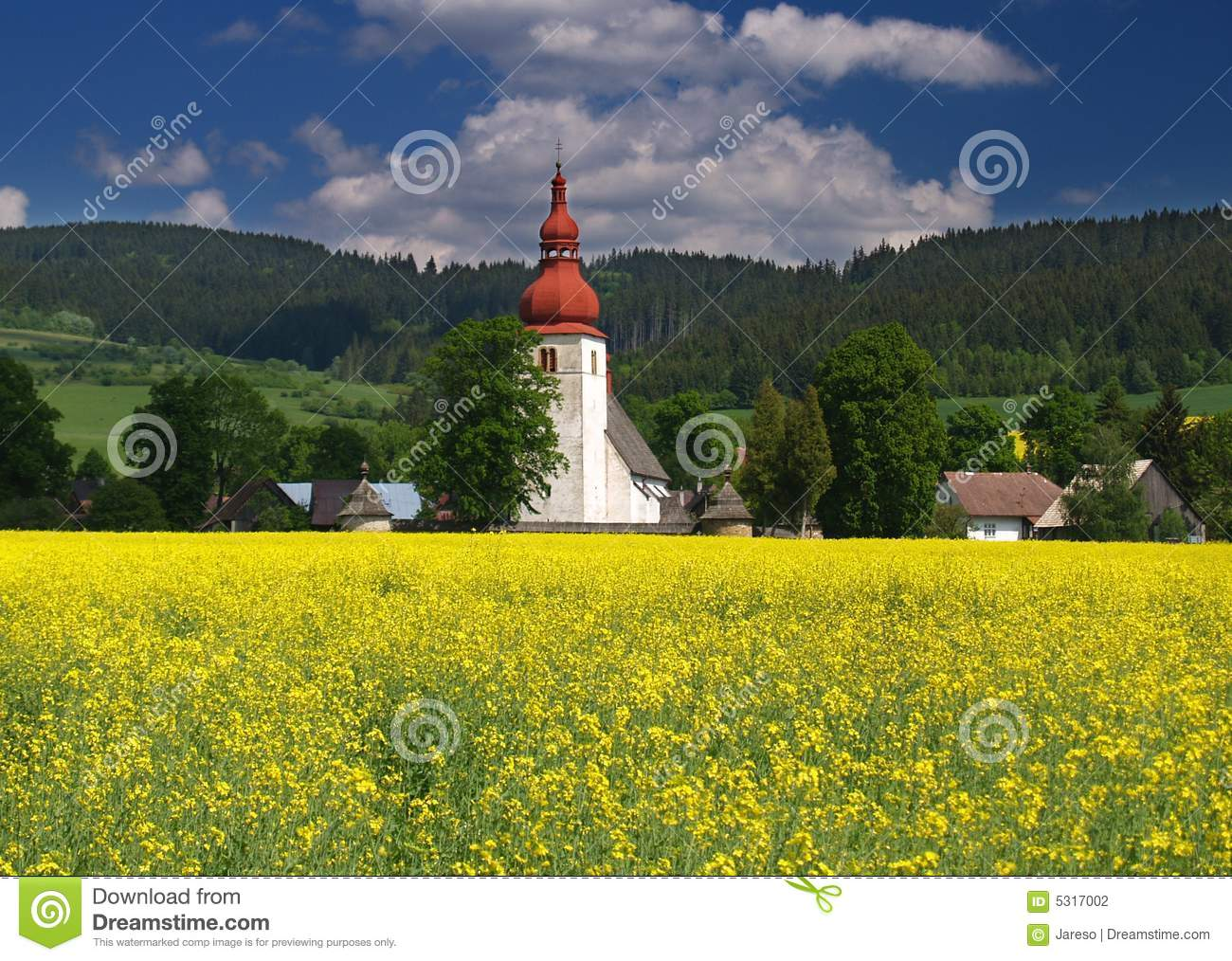 Meadow and old church