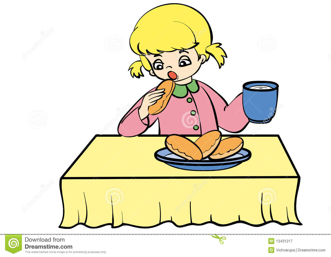 clipart girl eating breakfast - photo #25