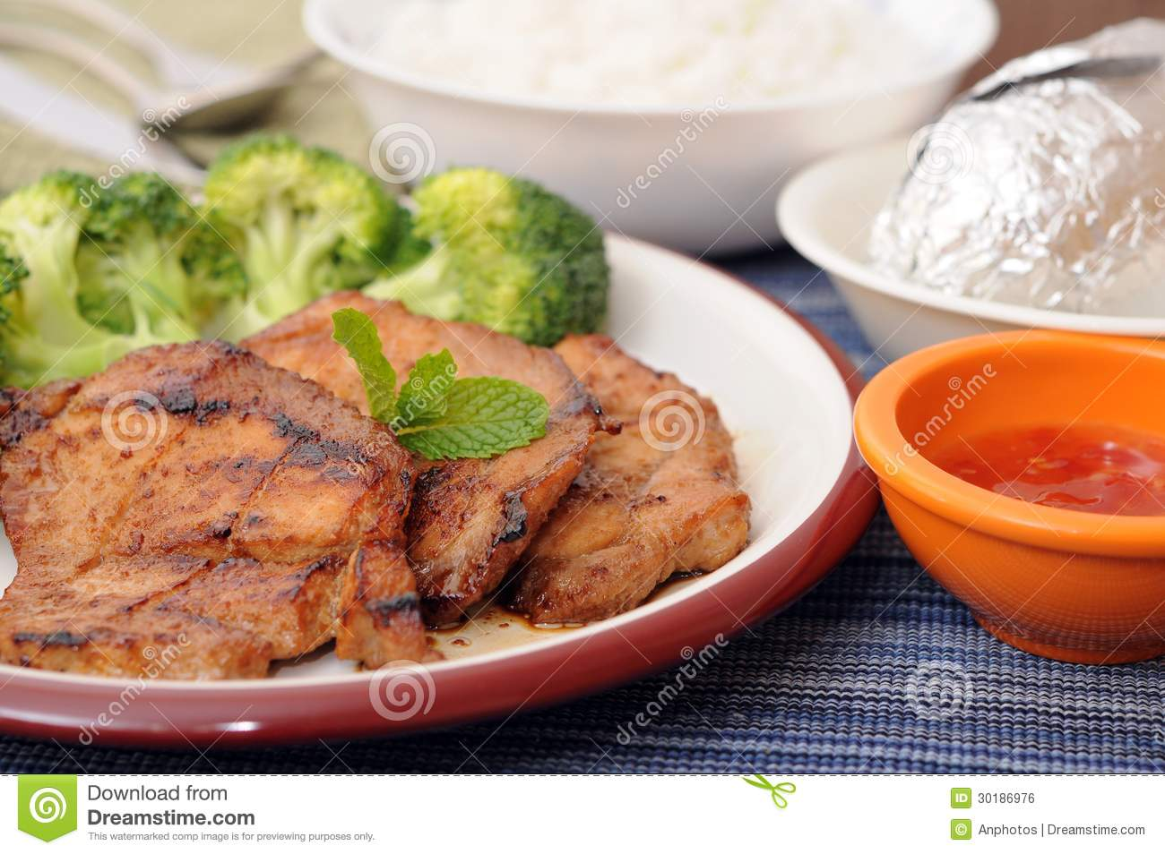 Grilled Pork, Broccoli, Steamed Rice And Potato Royalty Free Stock ...