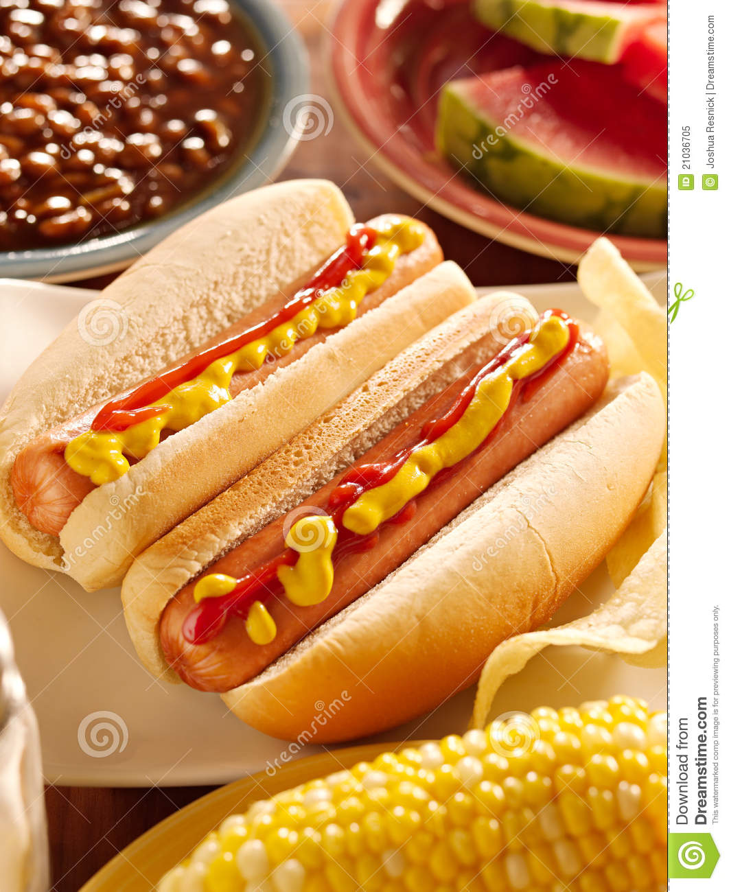 meal with hot dogs stock image image of ketchup sausage. Black Bedroom Furniture Sets. Home Design Ideas