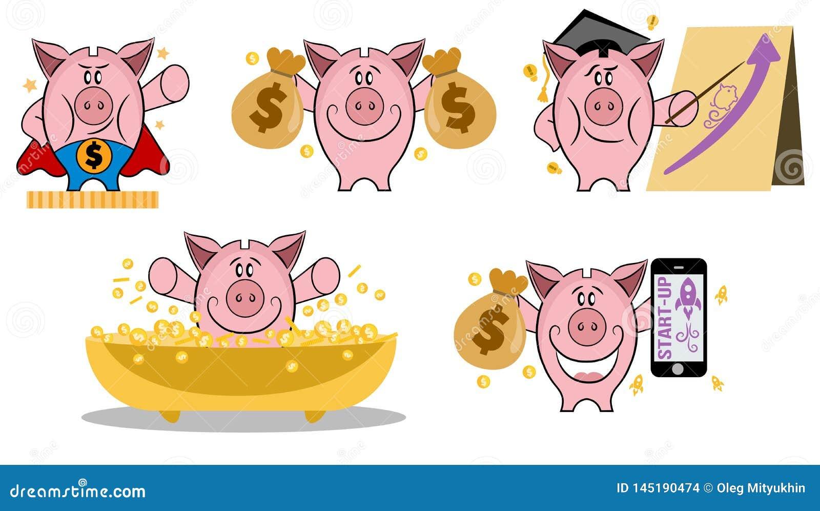 Mealheiro na v?ria a??o Grupo de mealheiro em situa??es diferentes Fazendo o conceito do dinheiro Grupo do ?cone do vetor do meal