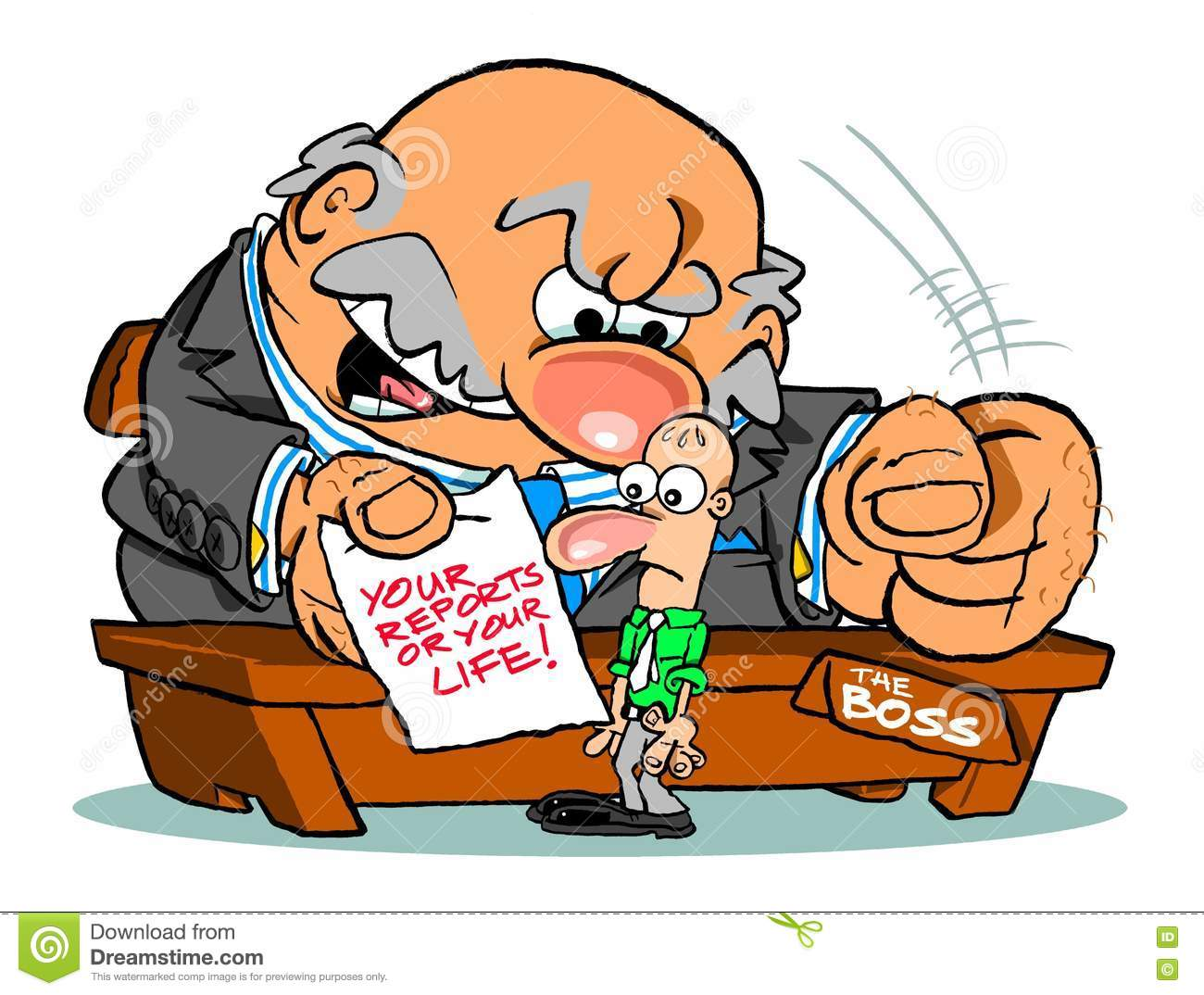 mean boss cartoon stock illustration image  mean boss cartoon